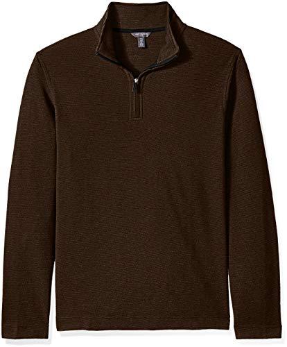 (Van Heusen Men's Size Big and Tall Flex Long Sleeve Ottoman Quarter Zip, brown burnt umber, 2X-Large Tall )