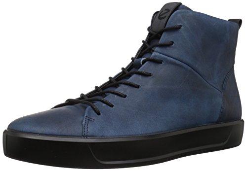 (ECCO Men's Soft 8 High Top Fashion Sneaker, Indigo Black, 44 M EU (10-10.5 US) )