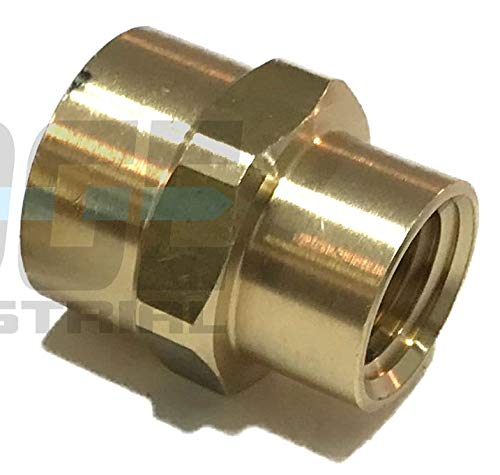 "EDGE INDUSTRIAL Brass REDUCING Coupling 3/8"" X 1/4"" Female NPT FNPT Fuel/AIR/Water/Oil/Gas WOG"