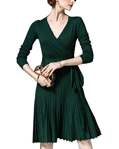 Winter Dress Womens Spring Sexy V-Neck Long Sleeve Wrap Dresses Elegant Belted Midi Solid Knit Sweater with Ruffle -