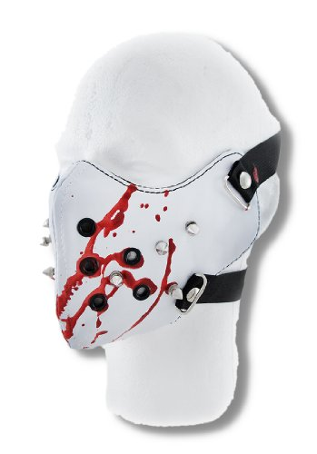 Vinyl Powersports Protective Face Masks Creepy White Vinyl Spiked Half Face Mask Facemask Blood Spatter White