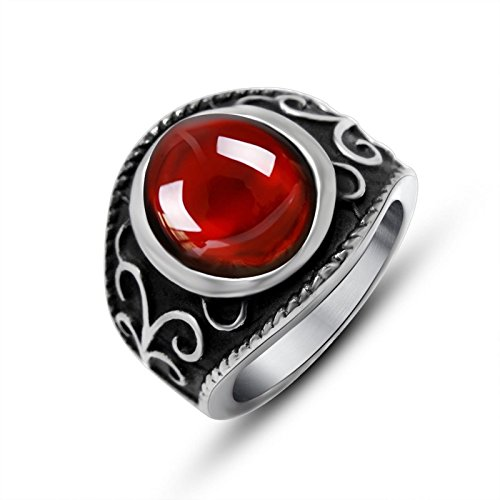 Beydodo Mens Stainless Steel Ring Celtic Vintage Ring Red Oval Stone 17mm Size 12 Mens Rings Hip Hop