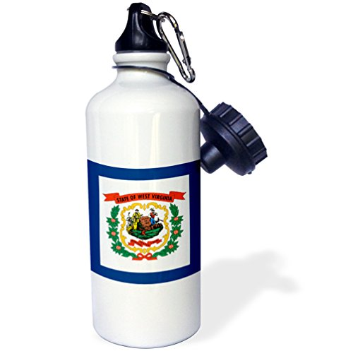 """3dRose wb_159829_1 """"Flag of West Virginia WV-US American United State of America USA. Farmer miner coat of arms wreath"""" Sports Water Bottle, 21 oz, White"""