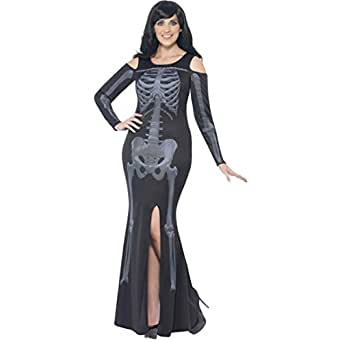 Amazon.com: Ladies Plus Size Skeleton Halloween Long Full