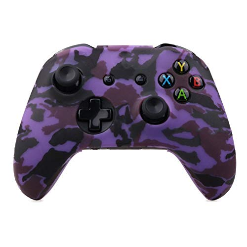 Silicone Protective Skin Case for XBox One X S Controller Protector Water Transfer Printing Camouflage Cover Grips Caps,Purple Camo
