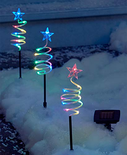 - The Lakeside Collection Set of 3 Solar Spiral Tree Stakes - Multi-Colored