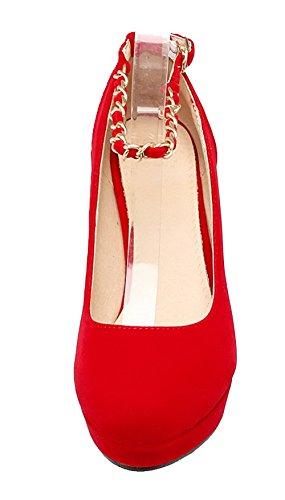 AgeeMi Shoes Damen Schnalle Suede Rund Zehe Rein Hoher Absatz Pumps Schuhe Rot