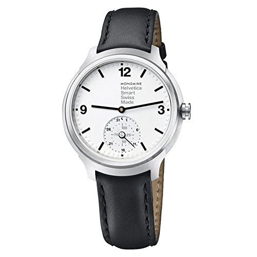Mondaine Helvetica No 1 Bold Smart White Dial Black Leather Mens Watch...