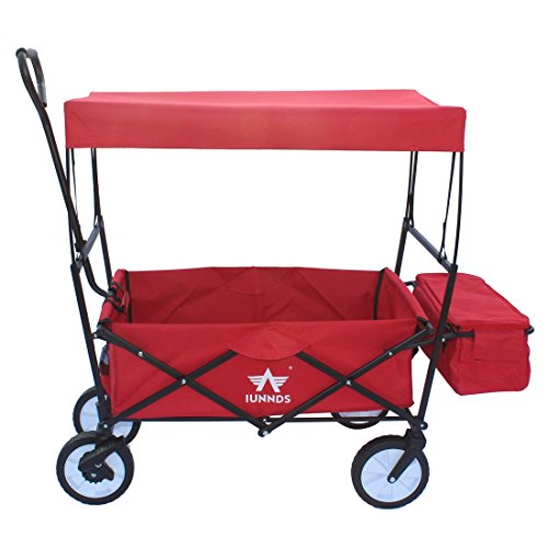 Sports God Folding Wagon Collapsible Utility Graden Cart with Removable Canopy + Storage Basket + FREE Cooler (Red)