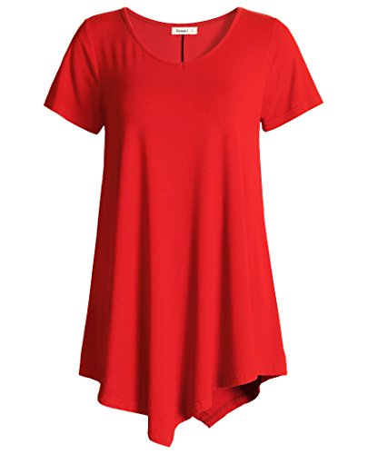 Esenchel Womens V-Neck Swing Shirt Casual Tunic Top for Leggings