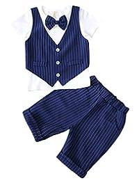 La Vogue Toddler Boys Summer Clothes Set 2 Pieces Leisure Gentleman Suit Set Striped Top and Pants