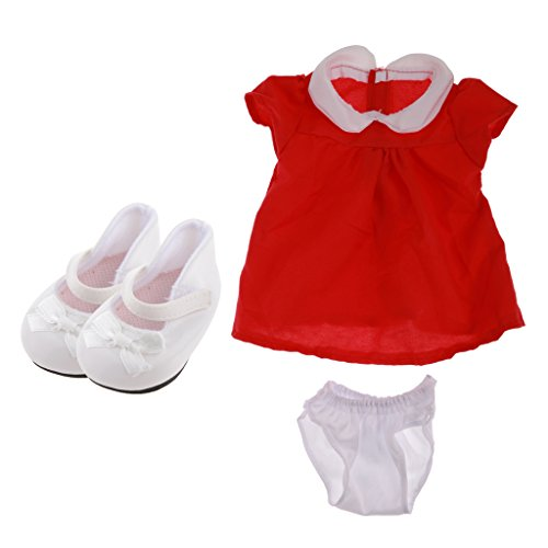 MonkeyJack Red One-piece Dress + Bowknot Shoes Clothes Fit for 17'' Zapf Baby Born Doll (Born Clothes Baby)