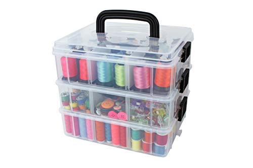 Bins & Things Stackable Storage Containers with 18 Adjustable Compartments (9.75W x 7.75D 8.3H Inch) | 3-Tier Stackable Storage Bins for Arts and Crafts, Jewelry Making, Beads Organizer, Sewing Access