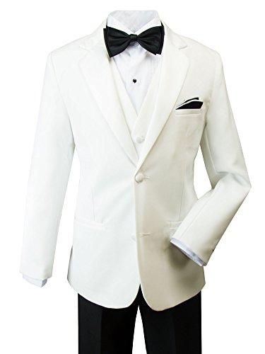 Spring Notion Big Boys' Modern Fit Tuxedo Set, No Tail 5 Off-White Jacket/Black Pants -