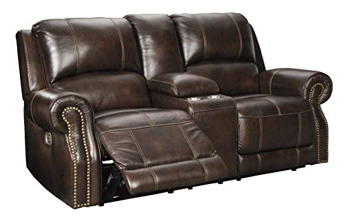 - Signature Design by Ashley U8460418 Buncrana Power Reclining Loveseat with Console, Chocolate