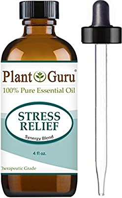 Stress Relief Synergy Blend Essential Oil 4 oz. 100% Pure Undiluted Therapeutic Grade for Aromatherapy Diffuser, Anxiety & Depression, Uplifting & Calming Aroma to Boost Mood Relaxation.