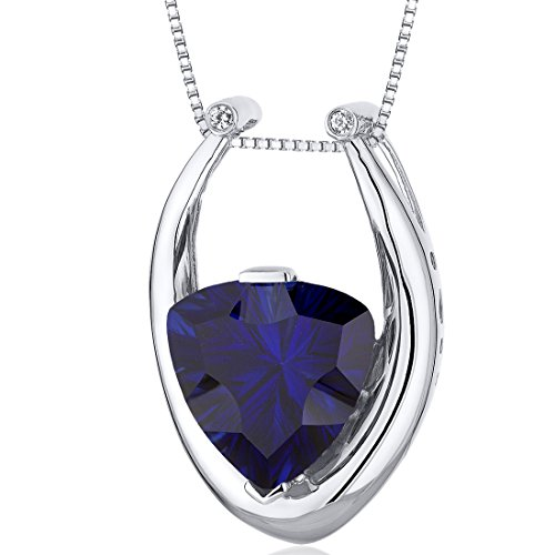 Concave Trillion Cut 8.00 carats Sterling Silver Rhodium Finish Created Blue Sapphire Pendant