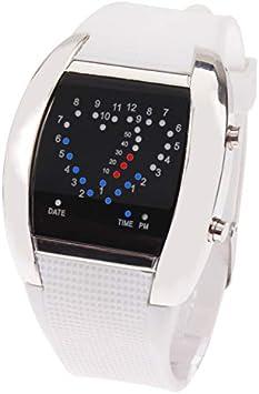 GANK YCYC Reloj Digital/Reloj de Pulsera AYSMG Sport con luz Azul y roja LED con Fecha (Rojo) (Color : White): Amazon.es: Electrónica