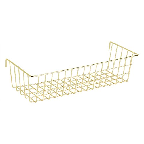 """Simmer Stone Gold Hanging Basket for Wire Wall Grid Panel, Multifunction Wall Storage Display Decorative Basket, Size 14.6""""x5.1""""x3.9"""""""