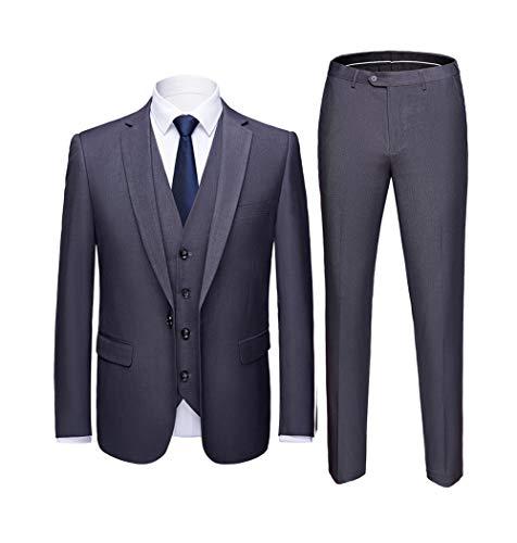 Smoking Pièce Business Boutons Fit Homme Gris Costume Slim Trois Mariage Un Mode 6qUz48w5