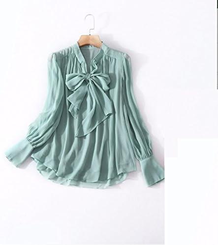 Mayihang Blusa Camisa Ropa de mujer y ropa de recambio lleva la camiseta de la mujer y de la Unión Americana y camisa de manga larga de color puro Manga Jefe,verde,S: Amazon.es: