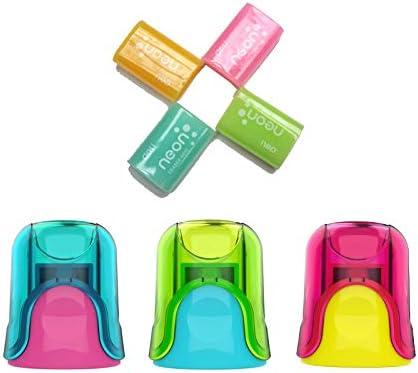 Pack 4 Gomas de borrar colores Neón + 3 sacapuntas con deposito: Amazon.es: Oficina y papelería