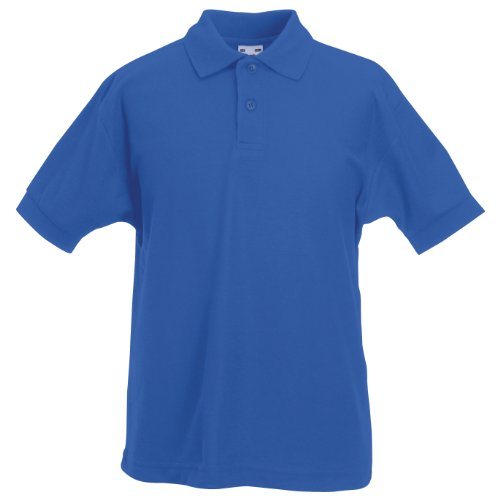Fruit Of The Loom - Kinder Unisex Pique Kurzarm Polo Shirt - 7-8 Jahre, Königsblau