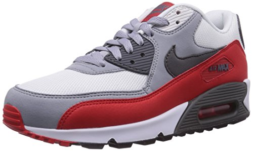 Nike Air Max 90 Essential, Men's Low-Top Trainers, Multicolor (Wolf Grey/Dark Grey/Challenge Red), 9.5 UK (44 1/2 EU) (Nike Air Max 90 Red And Grey)
