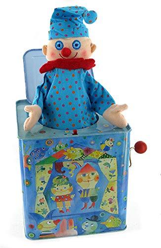 Lutèce Créations Diable en boîte Musical / Diable à Ressort / Jack-in-The-Box en métal chromolithographié avec boîte à Musique à manivelle et Clown en Tissu (Réf: 1476) - Pop! Goes The Wea
