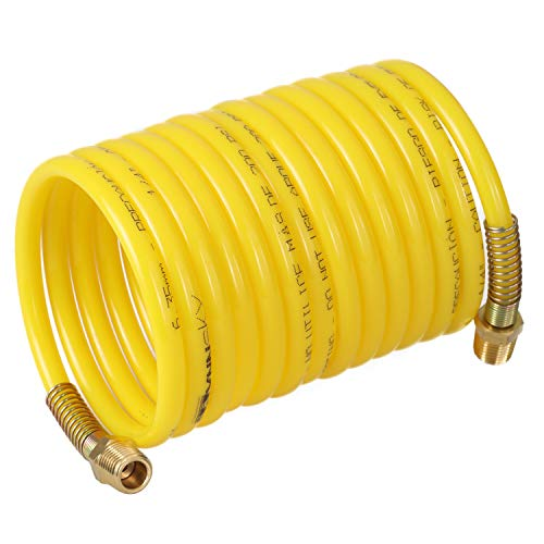 WYNNsky Nylon Air Hose, 1/4''×12ft,200PSI, Recoil Air Compressor Hose with Double 1/4