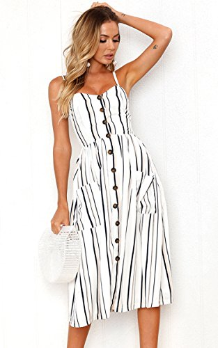Angashion Women's Dresses-Summer Floral Bohemian Adjustable Spaghetti Strap Button Down Swing Midi Dress with Pockets 2