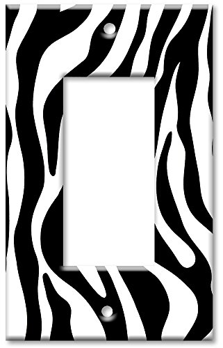 Art Plates - Single Gang Rocker OVERSIZE Switch Plate - Zebra Print