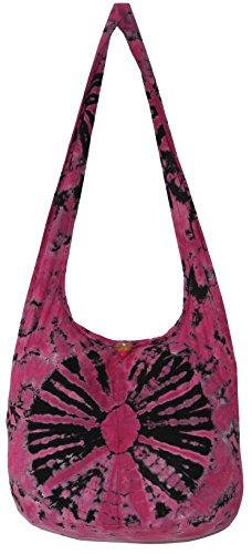 TIE DYE Crossbody Bohemian Shoulder Bag Hobo Purse Big 39'' (PinkBlack) by All Best Thing