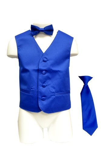 Amazon.com: Classy Boy's Satin Royal Blue Solid Vest, Tie and ...