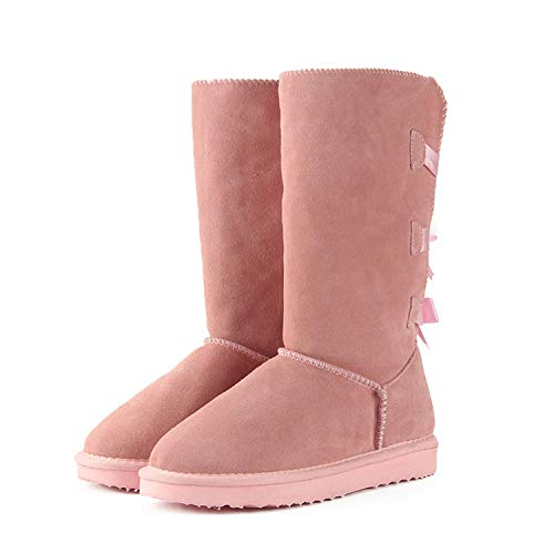 White Island 2018 Fashion Women Long Boots Genuine Cow Leather Snow Boots Bowknot US 3-13,Light Pink,12