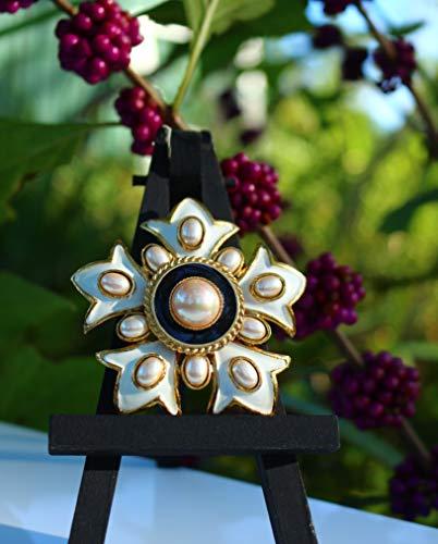 Gold tone white enamel faux pearls five fleur de lis petals BROOCH by Inga Engele repurposed USA
