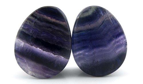 e (14.5mm) Rainbow Fluorite Teardrop Stone Plugs - Double Flare (Fluorite Natural Stone Double Flare)