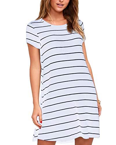 (SUNNYME Women's Striped Mini T Shirt Summer Dresses Short Sleeve Loose Crew Neck Tunics White)