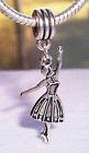 Dance Dangle (Glamorise Beads #14485 Ballerina Ballet Dancer Dance Dangle Bead fits Silver European Charm Bracelets)