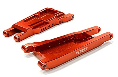Integy Hobby RC Model C26521RED Billet Machined Lower Suspension Arm (2) for Traxxas 1/10 Slash 4X4 LCG