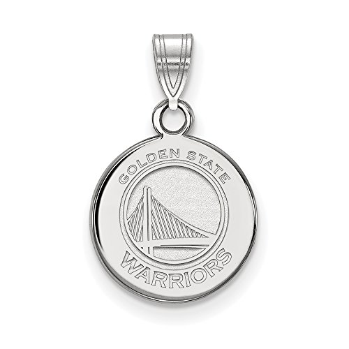 NBA Golden State Warriors Small Disc Pendant in 14K White Gold by LogoArt