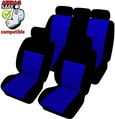 akhan-tuning SB403 - Cubierta de Asiento de Coche, Protector Asiento de Coche, Fundas para Asientos de Coche con airbag Lateral Negro/Azul