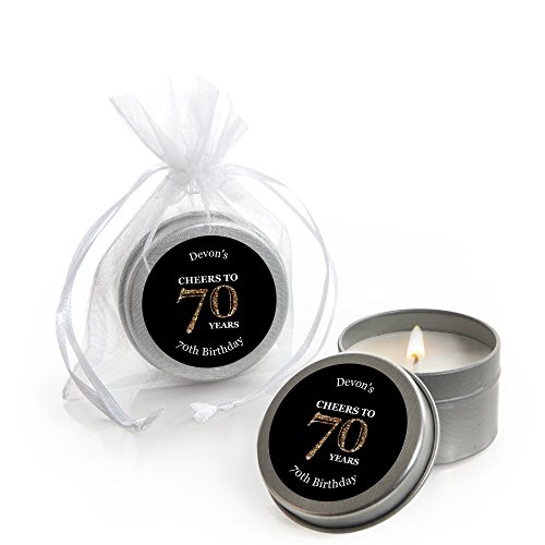 Custom Adult 70th Birthday - Gold - Personalized Candle Tin Birthday Party Favors - Set of 12