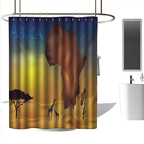 Shower Flower Blue Giraffe (Shower Curtains for Bathroom Flowers Safari,Savanna Giraffes Exotic Tropic Lands Culture Wild Nature Art Illustration,Orange Chocolate Blue,W48 x L72,Shower Curtain for Shower stall)