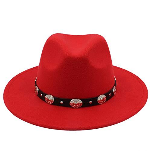 CP & YR Unisex Wool Jazz Hats Mens Fedora hat Women Felt Hat Cowboy Panama Hats Women Derby Fedoras. (Color : Red, Size : 56-58cm) ()
