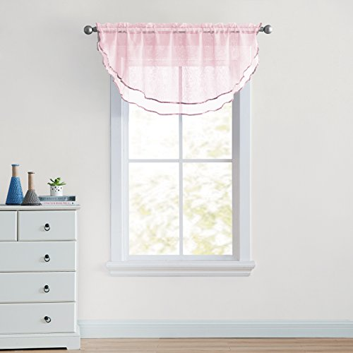 (OKSLO VCNY Home Ultra Luxurious Sheer Voile Double Layered Ascot Window Valance - Rose)