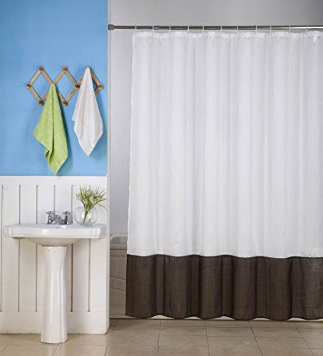 GorgeousHome (H10) 1 New WHITE BROWN Fabric Bathroom Bath Shower Curtain 2 Shade Mix Color 72