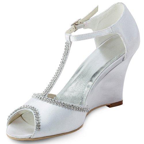 ElegantPark EP11086 Mujer Peep Toe Rhinestones Zapatillas Cuña Tacones Satén Boda Zapatos de Fiesta Blanco