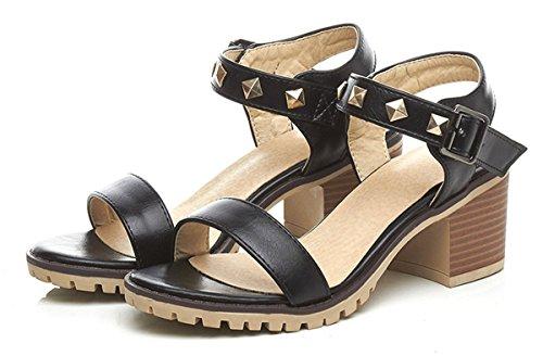 YE Damen 6cm Absatz Offene Blockabsatz Riemchen PU Leder Sandalen mit Schnalle und Nieten Sommer Schuhe Schwarz