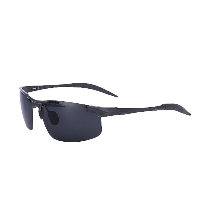 b61371fe4e4bf Mens Fashion Sports Sunglasses Polarized UV400 Half Frame Driving Cycling  Fishing for Men Women (Black